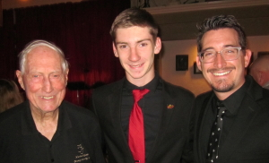 ESPERANZA JAZZ BAND Upright Bass Player David Tecker. Pictured with Brad Davis, Band Director and FOJ Board Member Gil McFadden