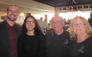 Fullerton High School Jazz Band Josselyn Escobar, Tenor Sax Pictured with Band Director Troy Trimble and FOJ Board Members Phil Rothstein and Colleen Wadsworth