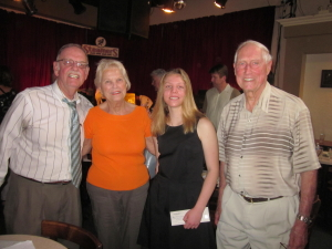 Mission Viejo Jazz Band Trumpet Player Maria Gorkovenko. Pictured with FOJ Board Members Jim Harlan, Judy and Gil McFadden